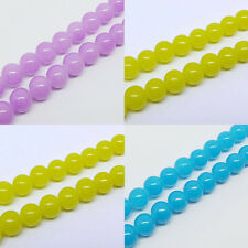 50/100Pcs Glass Jade 3 Colors  Charms Loose Spacer Round Bead 6mm DIY Finding
