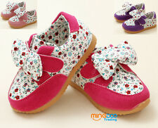 New cute baby girls casual sneakers infant flower bow-knot shoes size 5.5-8