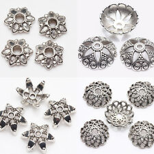 Practical Tibetan  Silver Various Flower Shape Hollow Out Bead Caps DIY Gift