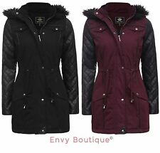 LADIES FUR HOODED PVC QUILTED SLEEVE FISHTAIL PARKA WOMENS JACKET COAT 8-16