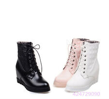 Womens Ladies Mid Calf Wedge Low Heels Lace up Shoes Boots AU All Size Y1262