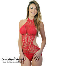 sw35 CFLB Women's Crochet One Piece Swimwear Swimsuit Halter Padded Monokini