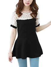 Lady Short Sleeve Dots Prints Mesh Panel Peplum Top