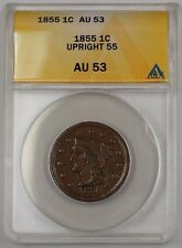 1855 US Braided Hair Large Cent Coin Upright 55 ANACS AU-53