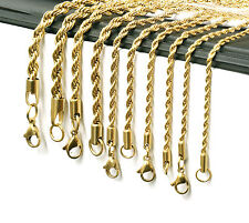 """24K Gold Plated Stainless Steel Men Lady French Rope Chain Necklace 2-5mm 20-30"""""""