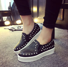 Hot Womens Rivets Studded Spike Hip Hop Shoes Flats Casual Comfort Loafers Shoes