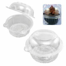100/200 Clear Plastic Cupcake Case Muffin Pods Dome Single Cup Cake Boxes Holder