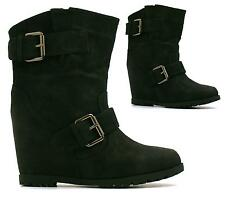 LADIES BUCKLE STRAP BIKER BOOTS HIDDEN WEDGE HEEL PLATFORM ANKLE BOOTS SHOES