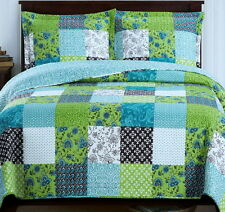 COUNTRY COTTAGE Patchwork BLUE GREEN Lightweight QUILT COVERLET Set OVERSIZED