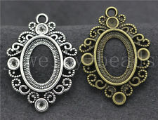 5/20/100pcs Antique Silver Cameo Cabochon Base Setting Jewelry Charms 35x25mm