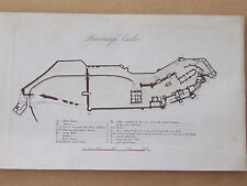 Map of Bamborough Castle - antique, hand-coloured print ca 1845