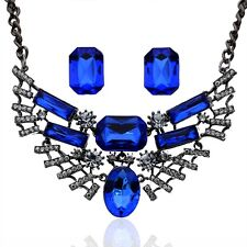 Silver Plated 3 Colors crystal Oval Necklace Earrings Jewelry Sets For Women