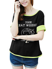Women Rabbit Printed Short Roll Up Sleeve Letters Casual Cropped Top
