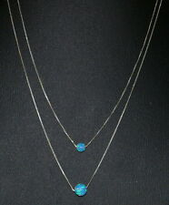 Two Layered Necklaces Sterling Silver 925 Box Chains with 6mm and 8mm OPAL Beads