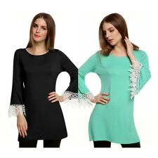 Fashion Sexy Womens Lace Kimono Sleeve Bodycon Slim Tops T- Shirt Casual Blouse
