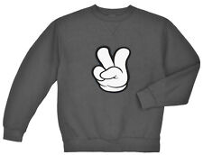 Peace sign sweatshirt Men's dark gray peace fingers cool hippie peace sign