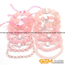 "Handmade Natural Stone Rose Quartz Beaded Stretchy Bracelet 7 1/2"" Adjustable"