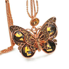 Swarovski Elements Crystal Necklace Pendant Royal Butterfly Sweater Long Chain G