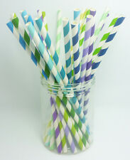 75 Colored Paper Drinking Straws Diagonal Striped Straws Wedding Birthday Party