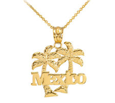 Yellow 10k Gold Mexico Palm Tree Pendant Necklace