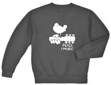 Woodstock sweatshirt Men's dark gray peace and music guitar woodstock