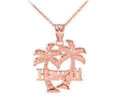 Rose 10k Gold Hawaii Palm Tree Pendant Necklace