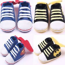 Baby Boy Blue Black Sneakers Soft Sole Crib Shoes Size Newborn to 18 Months
