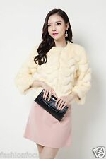 Girl's Lady's Winter real whole rabbit fur warm fashion coat/jacket/5size /beige