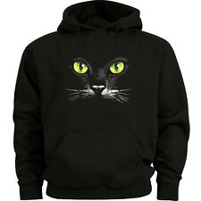 Black cat sweatshirt green eyes black cat hoodie Men's size sweat shirt hoody