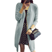 Women V Neck Long Sleeves Buttons Closure Front Longline Knit Cardigan