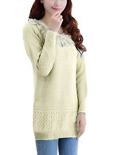 Fashion Lace Decor Long Sleeved Round Neck Knit Sweater for Lady