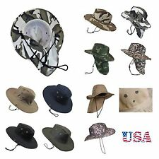 Western Cowboy Bucket Hat Wide Brim Neck Sun Cover Hat Visor Hiking Camping Hunt
