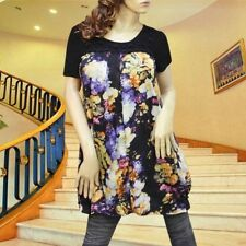 Black pleated painting flower satin dress tunic top  #1899 Size M L XL