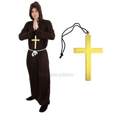 MONK COSTUME AND CROSS MEDIEVAL FANCY DRESS SAINTS ROBE RELIGIOUS SAINT OUTFIT