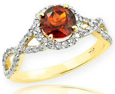 Gold Garnet Birthstone Infinity Ring with Diamonds Engagement Wedding