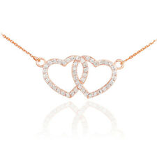14K Rose Gold Double Open Heart Pendant Necklace with CZ Valentine's Day Gift