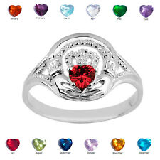 925 Sterling Silver Ladies Claddagh Red Ruby July CZ Birthstone Ring