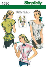 Simplicity 1940s Retro Misses Sewing Pattern 1590 Blouse