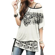 Woman Floral Prints Scoop Neck Butterfly Sleeves Tunic Top w Waist String