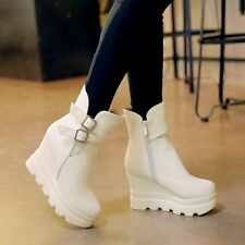GOTHIC Womens Punk Shoes Wedge High Heel Buckle Knight Ankle Boots Creeper Shoes