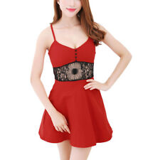 Ladies Sleeveless Spaghetti Strap Lace Panel Unlined Casual Dress