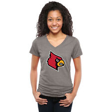 Louisville Cardinals Womens Classic Primary Tri-Blend V-Neck T-Shirt - Ash
