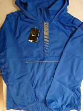 NEW MENS NIKE WOVEN ROYAL BLUE WATER RESISTANT WINDPROOF RUNNING JACKET