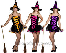 LADIES WITCH COSTUME HALLOWEEN FANCY DRESS ORANGE PINK PURPLE INC WITCHES HAT
