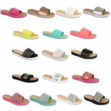 Womens Flip Flop Sandals Ladies Summer Mules Slider Rubber Jelly Flat Shoes Size