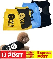 NEW Summer Cool Puppy Dog Small Dog Cat Pet Clothes Skull Vest T-Shirt Clothes
