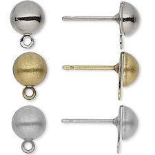 100 6mm Half Ball Earring Findings Post Studs With Closed Loop For Dangle Charms