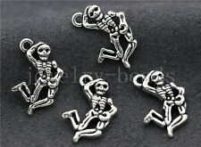 10/40/200pcs Antique Silver Beautiful skeleton Jewelry Charms Pendant 20x13mm