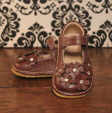 Brown Crystal Flowers Girls Mary Jane Squeaky Shoes, Sizes 3 4 5 6 7 8 9