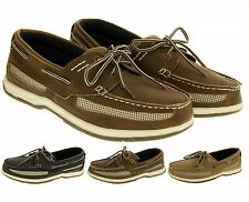 Mens Island Surf Synthetic Leather Deck Shoes Lace Up Moccasin Sailing Shoe